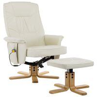 vidaXL massagelænestol med fodskammel cremefarvet kunstlæder