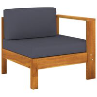 vidaXL midterdel til sofa med 1 armlæn massivt akacietræ mørkegrå