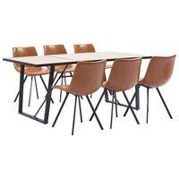 vidaXL spisebordssæt 7 dele kunstlæder cognacfarvet