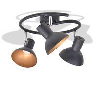 vidaXL loftslampe til 3 pærer E27 sort og guldfarvet