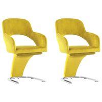 vidaXL spisebordsstole 2 stk. fløjl gul