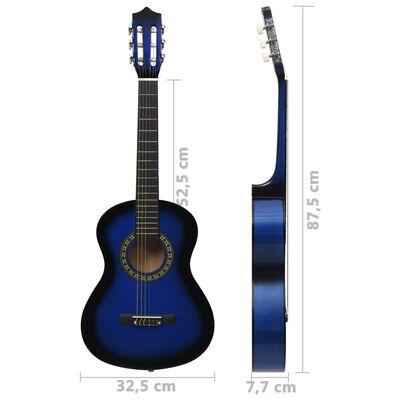 """vidaXL klassisk guitarsæt 8 dele for begyndere 1/2 34"""" blå"""