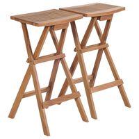 vidaXL foldbare barstole 2 stk. massivt teaktræ