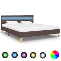 vidaXL sengestel med LED 160 x 200 cm stof gråbrun