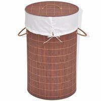 vidaXL vasketøjskurv bambus rund brun