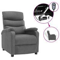 vidaXL eldrevet lænestol stof lysegrå