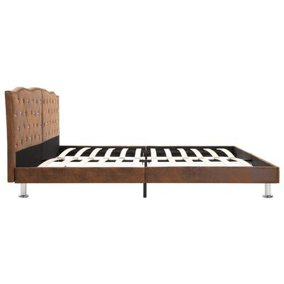 vidaXL seng med madras i memoryskum 160 x 200 cm brun stof
