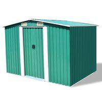 vidaXL opbevaringsskur til haven 257x205x178 cm metal grøn