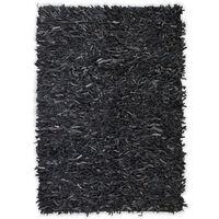 vidaXL shaggy tæppe ægte læder 80 x 160 cm grå