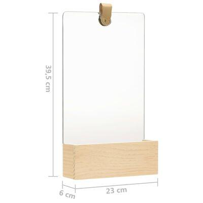 vidaXL vægspejl 23x39,5 cm massivt fyrretræ