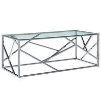 vidaXL sofabord 120 x 60 x 40 cm hærdet glas og rustfrit stål transparent