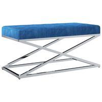 vidaXL bænk 97 cm fløjl stof rustfrit stål blå