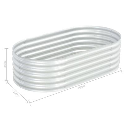 vidaXL forhøjet plantekasse 160x80x44 cm galvaniseret stål sølvfarvet
