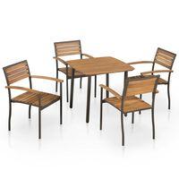 vidaXL udendørs spisebordssæt 5 dele massivt akacietræ og stål