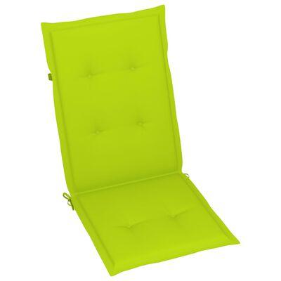 vidaXL havestole 6 stk. med lysegrønne hynder massivt teaktræ