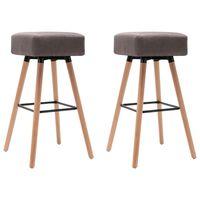 vidaXL barstole 2 stk. stof gråbrun