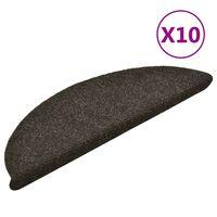 vidaXL selvklæbende trappemåtter 10 stk. 56x17x3 cm tuftet lysebrun
