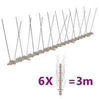 vidaXL fuglepigge 2 rækker sæt af 6 stk. 3 m plastik
