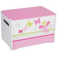 Worlds Apart legetøjskasse patchwork 60x39x39 cm lyserød WORL230004