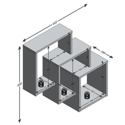 FMD væghængt hylde med 3 rum hvid