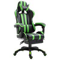vidaXL gamingstol med fodstøtte kunstlæder grøn
