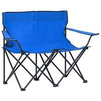 vidaXL 2-personers campingstol foldbar stål og stof blå