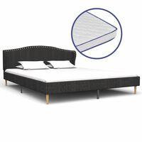 vidaXL seng med madras i memoryskum 180 x 200 cm mørkegrå stof