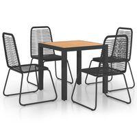 vidaXL spisebordssæt til haven 5 dele polyrattan sort og brun