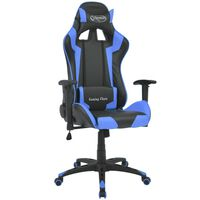 vidaXL racer-kontorstol med lænefunktion i blåt kunstlæder