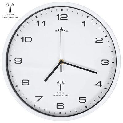 vidaXL radiostyret vægur med kvarts-urværk 31 cm hvid