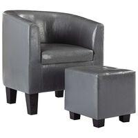 vidaXL lænestol med fodskammel kunstlæder grå
