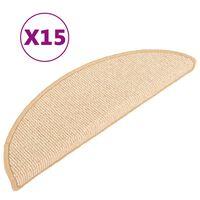 vidaXL trappemåtter 15 stk. 65x21x4 cm cremefarvet
