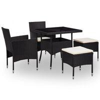 vidaXL udendørs spisebordssæt 5 dele polyrattan og glas sort