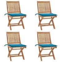 vidaXL foldbare havestole 4 stk. med hynder massivt teaktræ