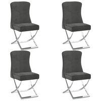 vidaXL spisebordsstole 4 stk. 53x52x98 cm fløjl grå
