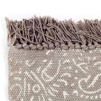 vidaXL kilim-tæppe med mønster bomuld 120 x 180 cm gråbrun