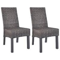 vidaXL spisebordsstole 2 stk. kubu-rattan og mangotræ brun
