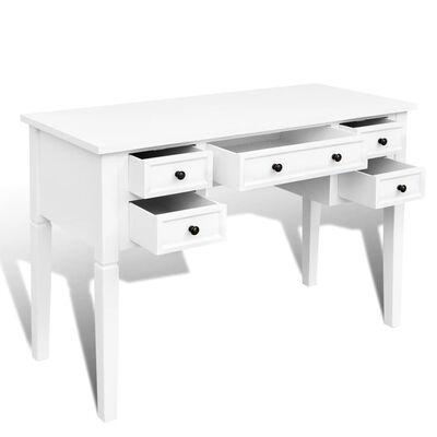 vidaXL skrivebord med fem skuffer hvid