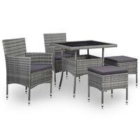 vidaXL udendørs spisebordssæt 5 dele polyrattan og glas grå