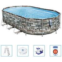 Bestway Power Steel poolsæt Comfort Jet Series 610x366x122 cm oval
