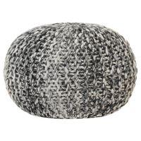 vidaXL håndstrikket puf 50x35 cm uld-look stof mørkegrå