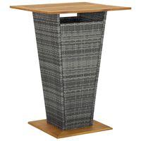 vidaXL barbord 80x80x110 cm polyrattan og massivt akacietræ grå