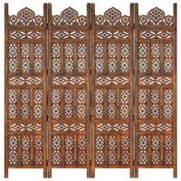 vidaXL 4-panels rumdeler håndskåret 160 x 165 cm massivt mangotræ brun