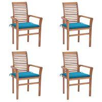 vidaXL spisebordsstole 4 stk. med blå hynder massivt teaktræ