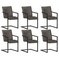 vidaXL spisebordsstole med cantilever 6 stk. ægte læder grå