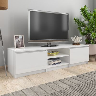 vidaXL tv-skab 140x40x35,5 cm spånplade hvid højglans
