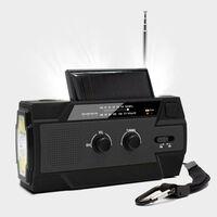 Multifunktionel overlevelsesradio med solpanel og håndsving
