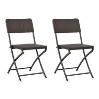 vidaXL foldbare havestole 2 stk. HDPE og stål brun