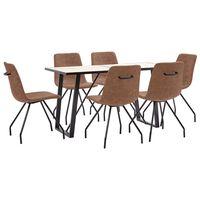 vidaXL spisebordssæt 7 dele kunstlæder brun
