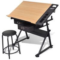 vidaXL tegnebord med taburet og to skuffer vipbar bordplade